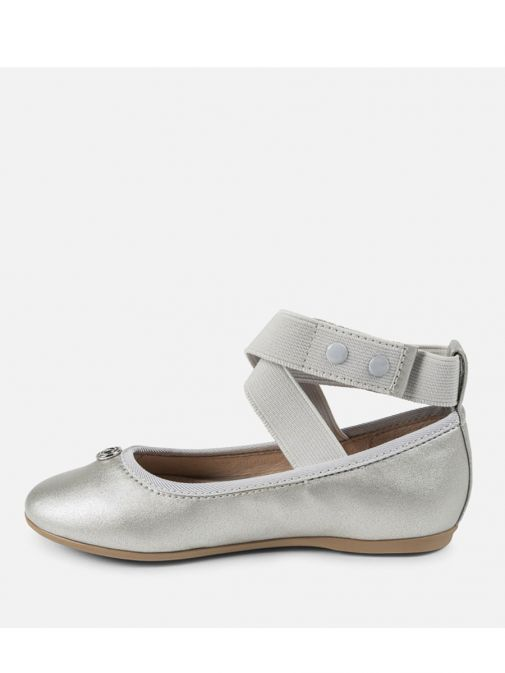 Mayoral Silver Ballet Shoes With Elastic Strap