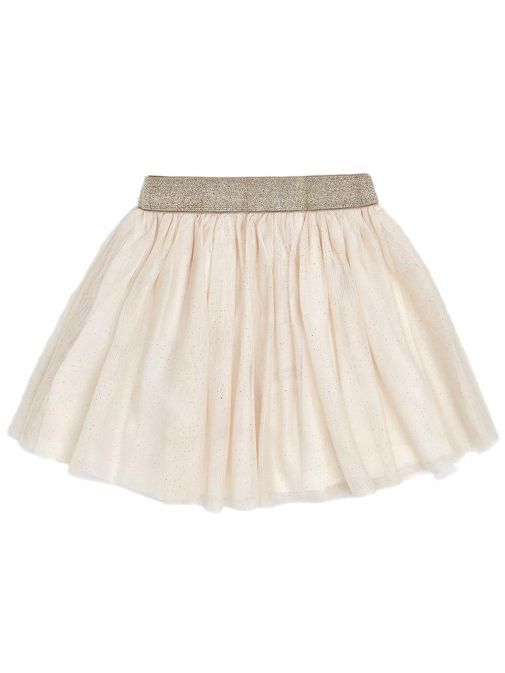 Mayoral Champagne Embroidered Tulle Skirt
