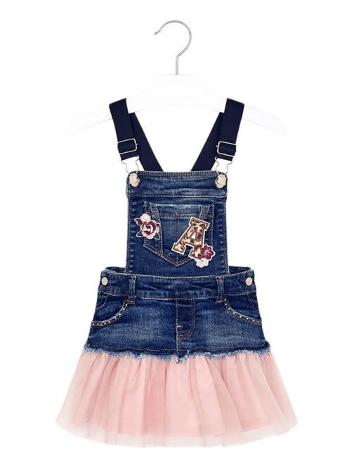 Mayoral Denim And Pink Tulle Pinafore Dress 4913 22