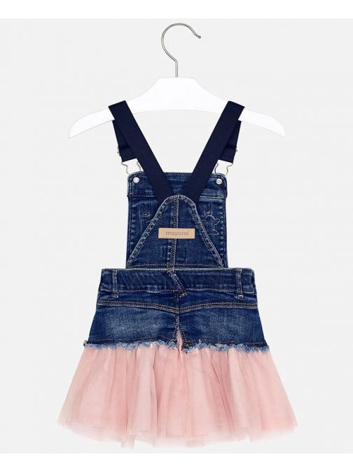 Mayoral Denim And Pink Tulle Pinafore Dress