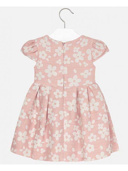 Mayoral Pink Floral Jacquard Dress
