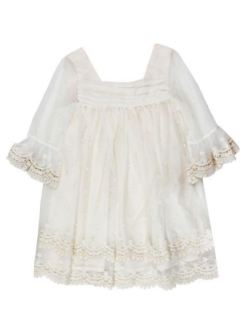 Abel & Lula Crudo Lace Trimmed Dress 5004 2 NATURAL