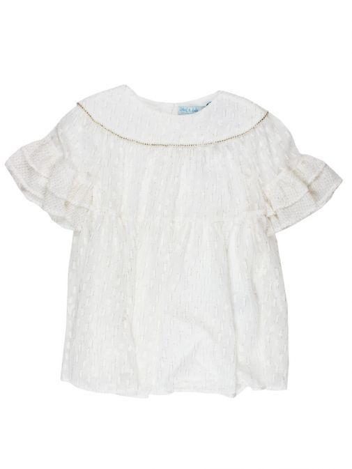 Abel & Lula Off White Shimmer Dress 5005 4 OFF WHITE