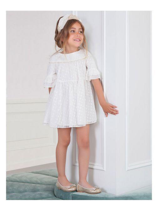 Abel & Lula Off White Shimmer Dress