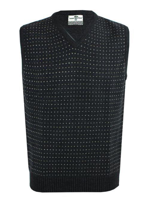 Dario Beltran Navy Patterned V-Neck Chunky Knit Jumper 5050J12 501