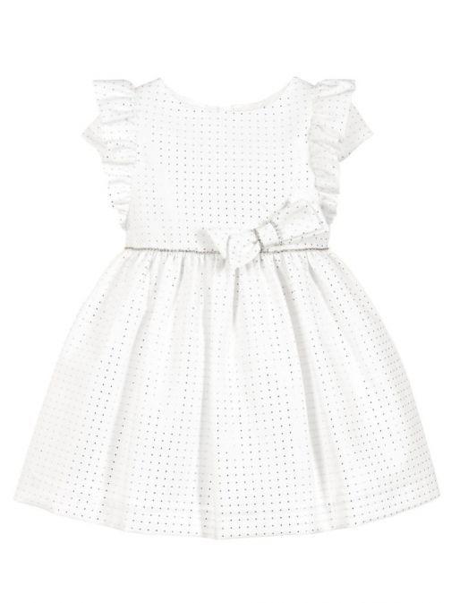 Abel & Lula White And Silver Jacquard Pique Dress 5054 1 BLANCO