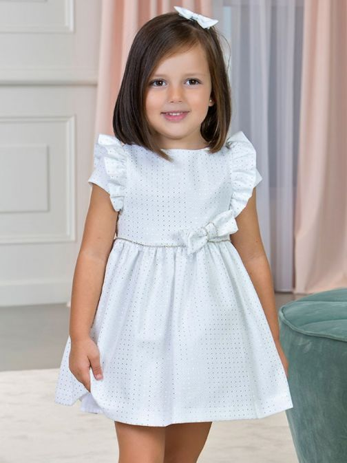 Abel & Lula White And Silver Jacquard Pique Dress