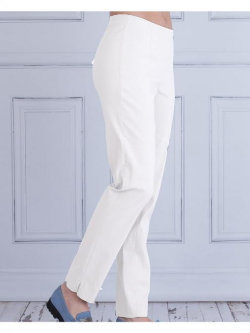 Robell White Slim Fit Trousers (Style. Marie)