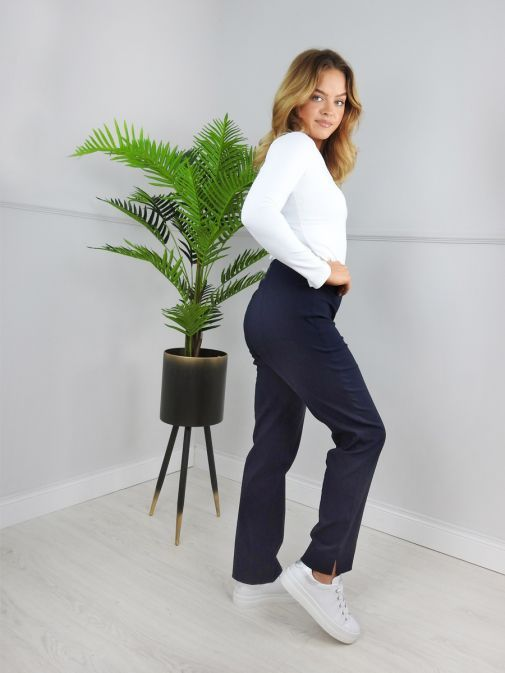 Robell Navy Slim Fit Trousers (Style: Marie)