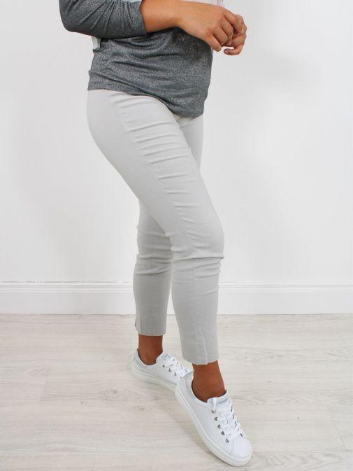 Model wearing Robell Rose 09 Super Slim Fit Trousers in Light Grey