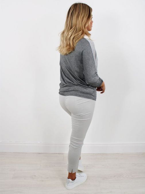 Back shot of model wearing Robell Rose 09 Super Slim Fit Trousers in Light Grey