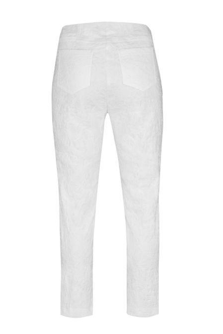 Robell White Leaf Jacquard Print Trouser (Bella 09)