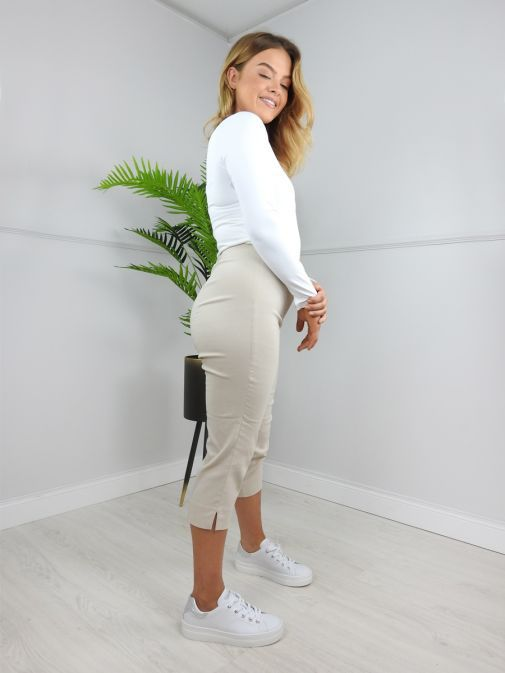Robell Light Beige Cropped Trousers (Style: Marie 07)