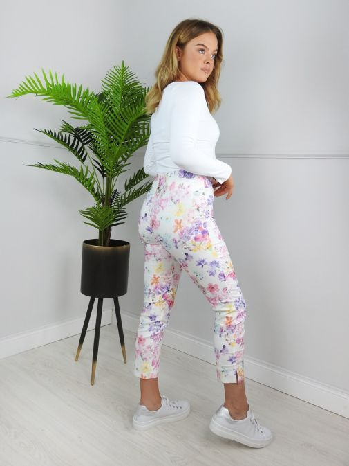 Robell Floral Watercolour Super Slim Trousers (Style: Rose 09) 51627/54734/10-Floral