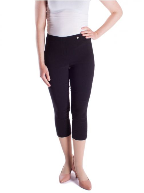Robell Black Super Slim Fit Cropped Trousers (Style: Rose)