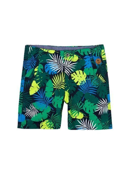 Boboli Green Multi Leaf Pattern Shorts