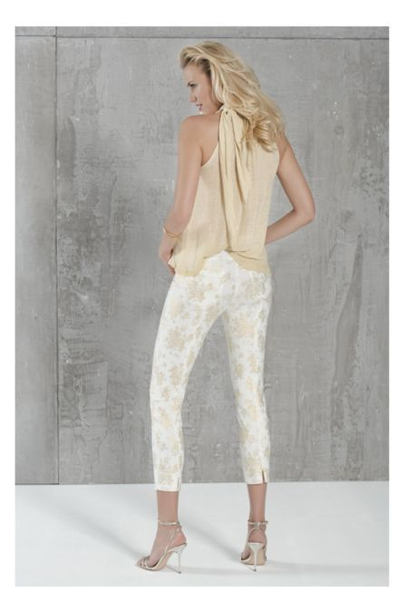 Robell Gold Metallic Rose Print Super Slim Fit Trousers (Style: Rose 09)