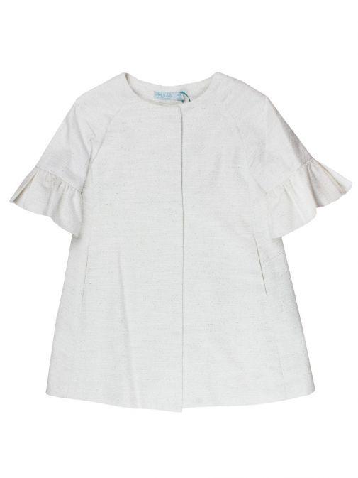 Abel & Lula White Glitter Detail Dress Coat 5308 19 BLANCO