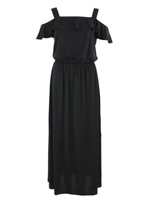 5353 101 Marble Black Cold Shoulder Maxi Dress