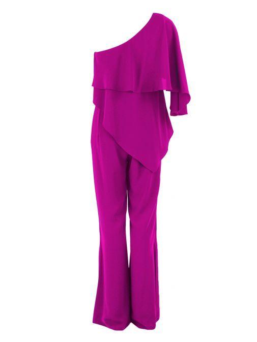 Red & Royal Pink One Shoulder Jumpsuit