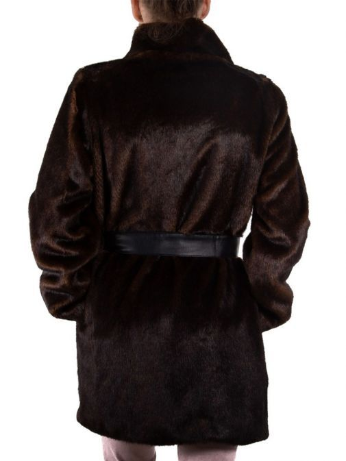 Emme by Marella Mosto Brown Faux Fur Jacket 54560498 MOSTO