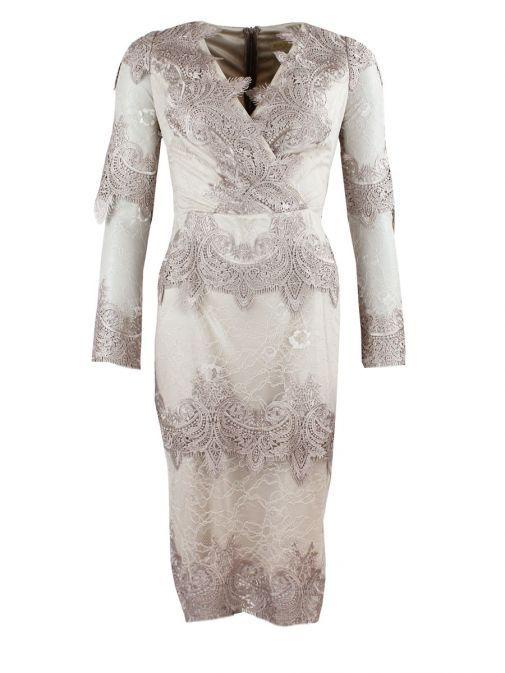 Red & Royal Beige V-Neck Lace Dress 5483 BEIGE