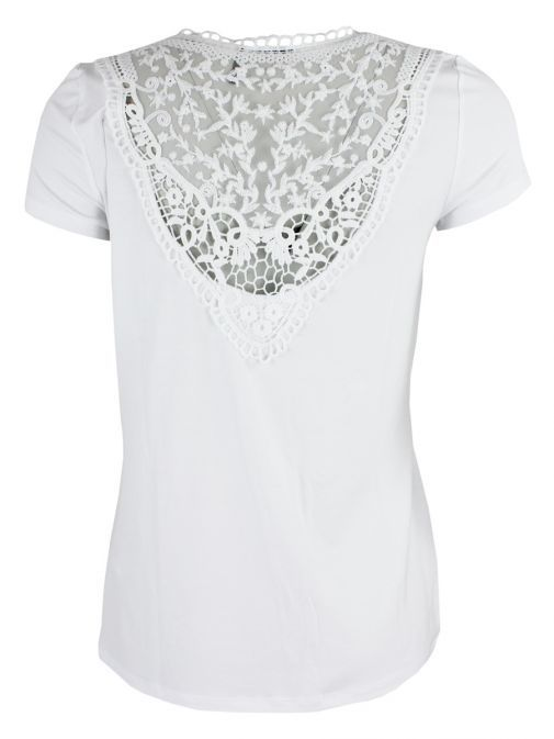 Tricotto White Flamingo Pearl Embellished Top