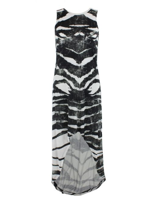 Religion Black & White Hunt Print Dip Hem Dress 58EJYD83 HUNT PRINT