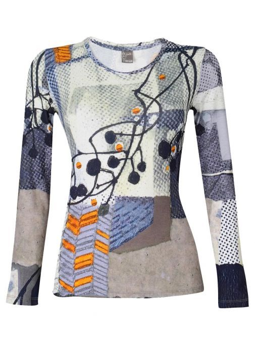 Dolcezza Dragonfly Abstract Print Round Neck Top