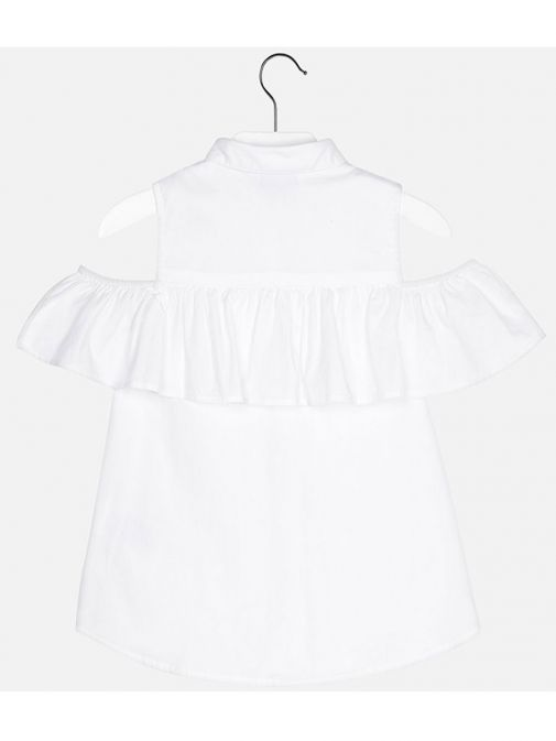 Mayoral White Cold Shoulder Ruffle Top