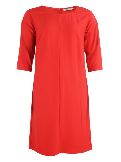 Betty Barclay Orange Red 3/4 Sleeve Zip Detail Dress