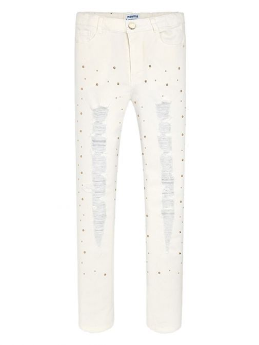 Mayoral Ivory Ripped Detailed Jeans 6508 78