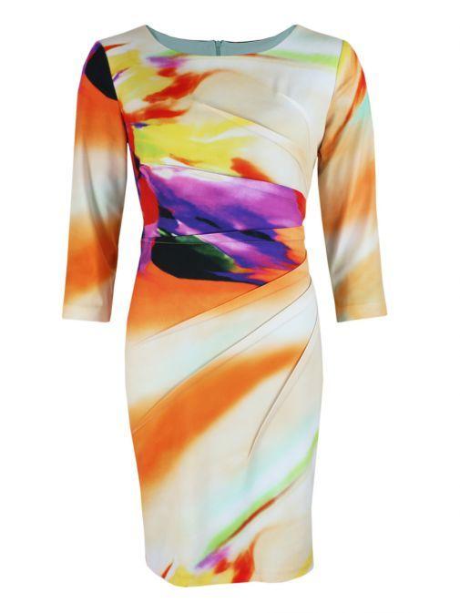 Frank Lyman Multi Faded Print Ruched Midi Dress 66507 MULTI