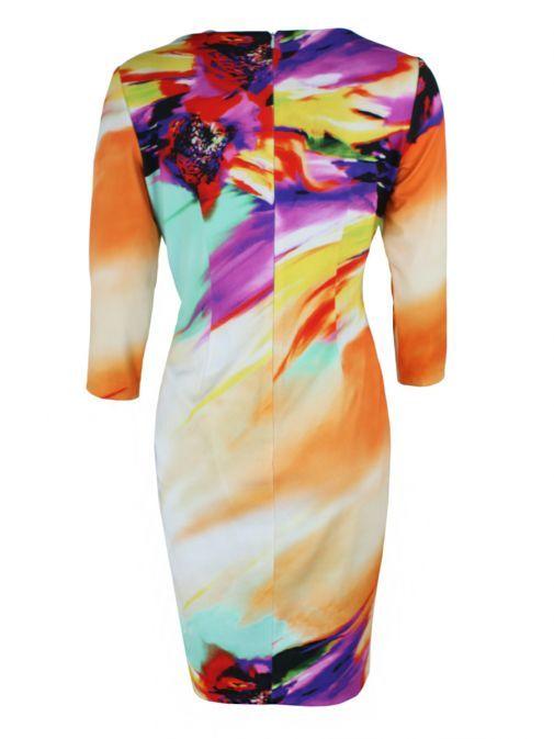 Frank Lyman Multi Faded Print Ruched Midi Dress