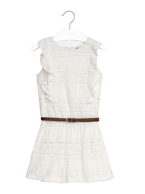 Mayoral Cream Sleeveless Frilly Belted Playsuit 6800 18