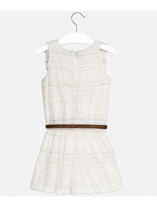 Mayoral Cream Sleeveless Frilly Belted Playsuit