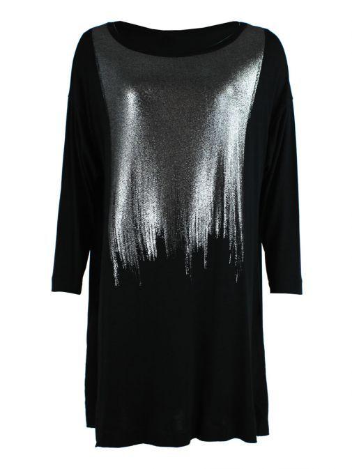 Mat Black & Silver Long Sleeve Top 681.7053 BLACK