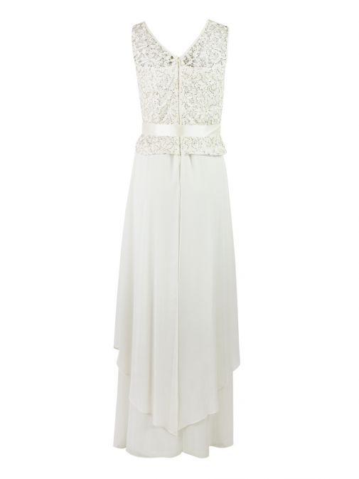 Frank Lyman Cream Sequin & Lace Bodice Gown