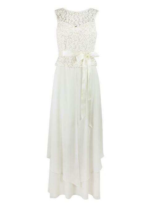 Frank Lyman Cream Sequin & Lace Bodice Gown 68195 CREAM