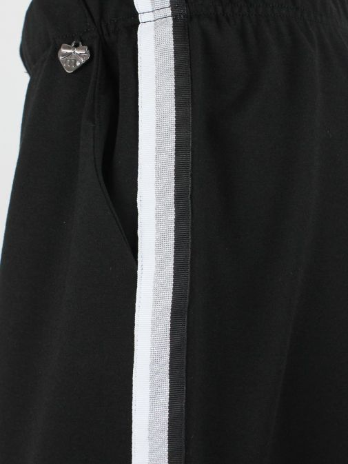 Mat Black Striped Panelled Culottes