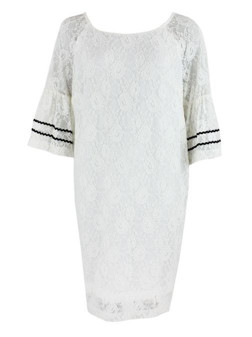 Mat Off-White Floral Lace Shift Dress 691.7191 OFF WHITE
