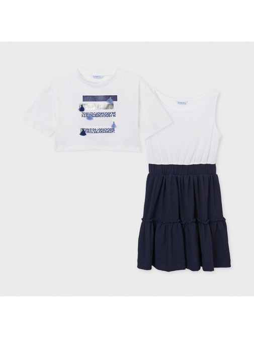 Mayoral Navy Mixed Print Dress 6931/81-Print