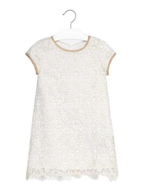 Mayoral Cream & Gold Floral Crochet Dress 6958 56