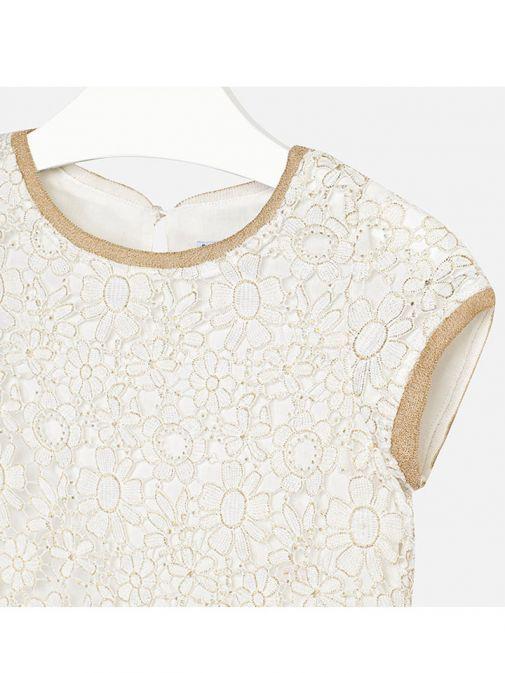 Mayoral Cream & Gold Floral Crochet Dress