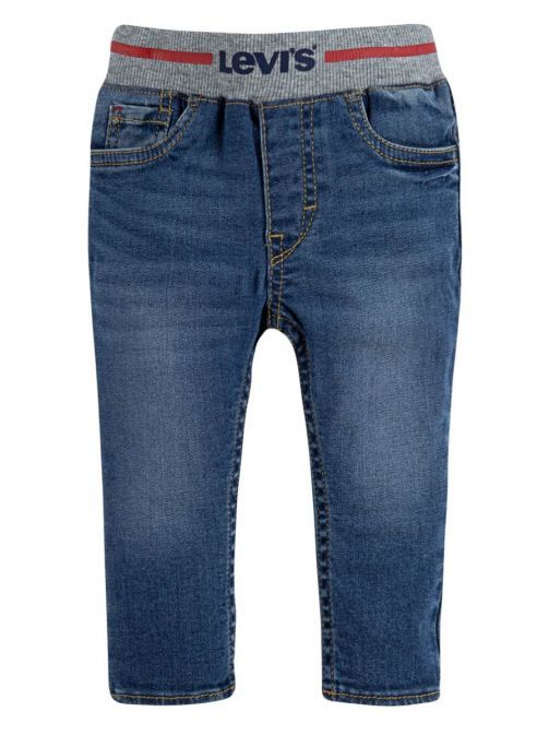 Front shot of the Levi's Baby Skinny Sketch Jeans Denim featuring elasticated waist band and pockets