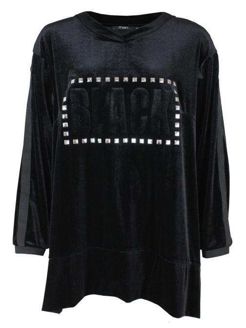 Mat Black Velvet Longline Jumper 701.1152 BLACK