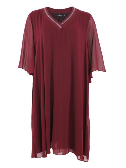 Mat Dark Red Layered Chiffon Tunic Dress 701.7068 DARK RED/DARK RED