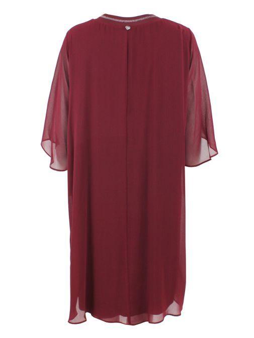 Mat Dark Red Layered Chiffon Tunic Dress