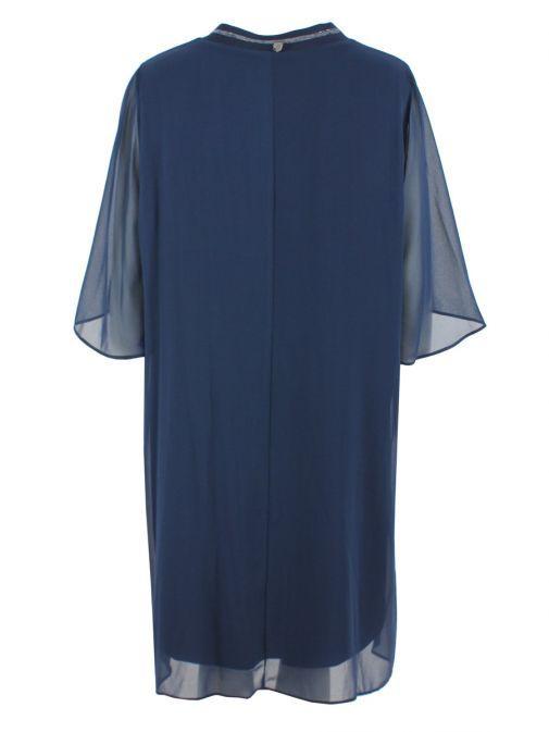 Mat Blue Layered Chiffon Tunic Dress