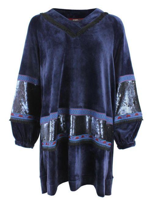 Mat Blue Velvet Sequins & Patterned Jumper Dress 701.7147.M BLUE